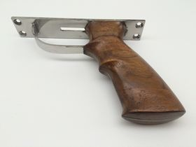 stainless steel speargun handle with teakwood grip